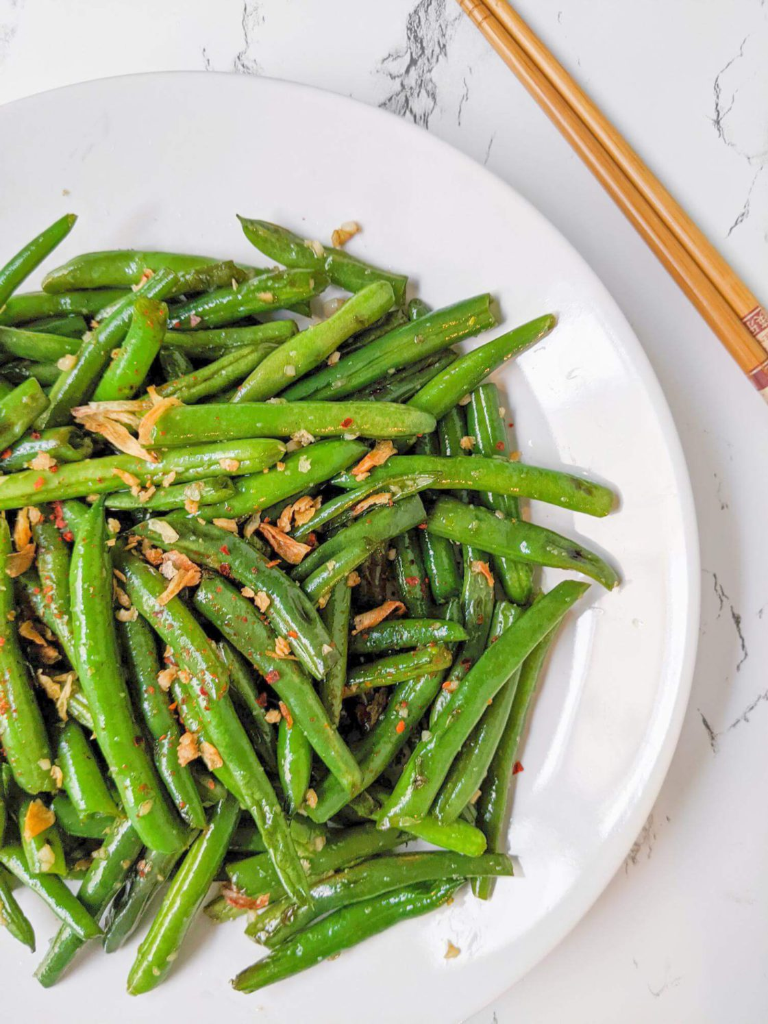 Easy Chinese style Green Beans with Shallots and Garlic Offset