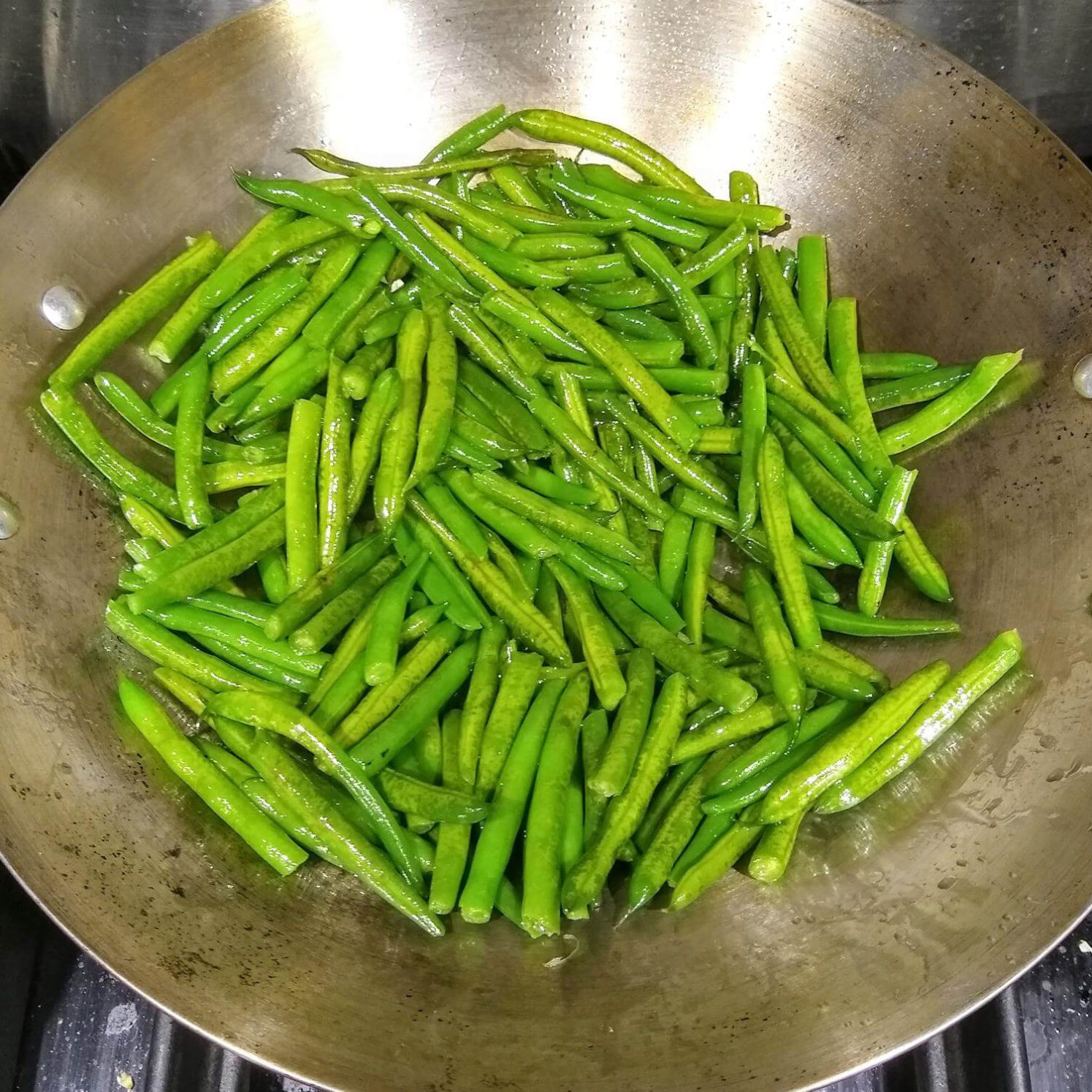Frying the Green Beans